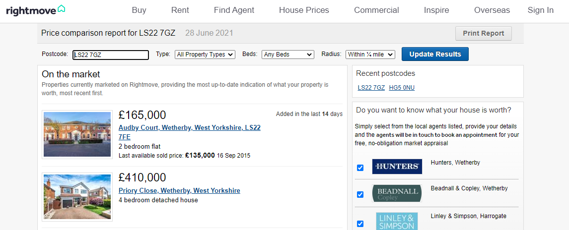 Rightmove House Valuation