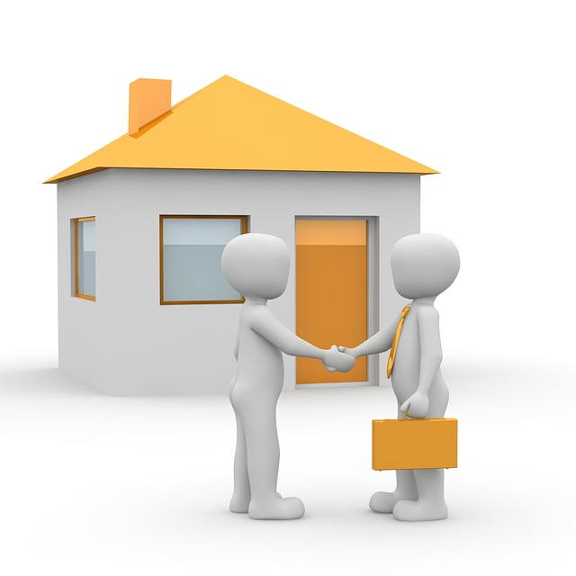 graphic of men shaking hands infront of a house