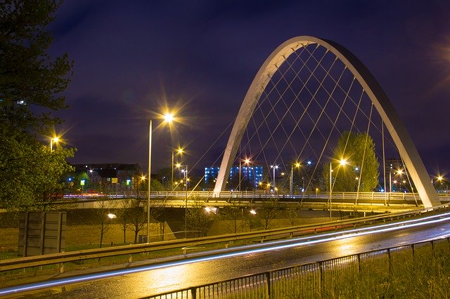 evening image of a bridge in Manchester