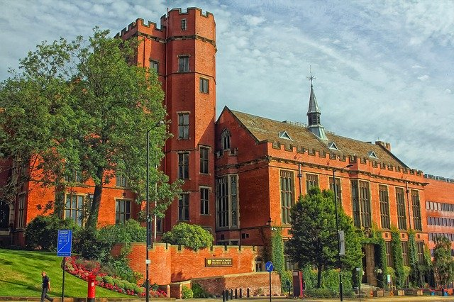 Firth Court, a red brick building that's part of Sheffield University