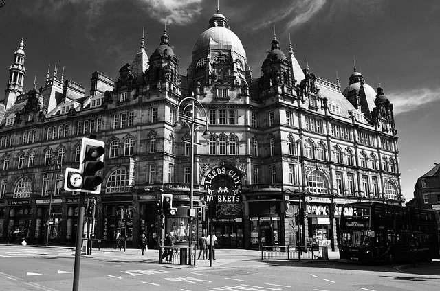 black and white photo of Leeds City Markets in Leeds city centre