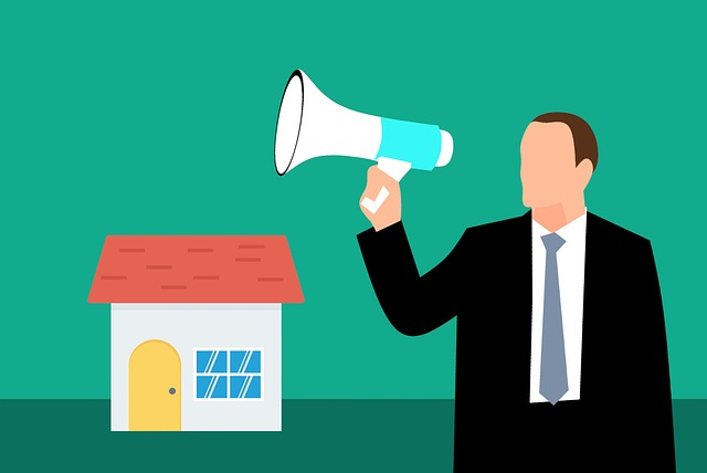 cartoon of a man with a megaphone and a house