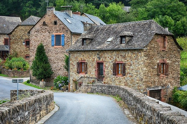 old stone houses in a village